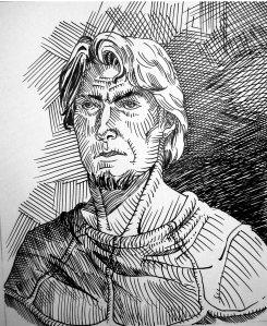 Alano, um camponês. Arte de Berto Souza, para Belregard.